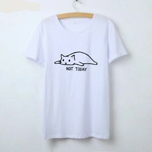 Women-Cat-Sleeping-Not-Today-Printed-Cotton-Sexy-Tees-T-Shirt-Top-Blouse-Camisa