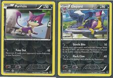 LIEPARD & PURLOIN - 2 EVOLUTION XY Phantom Forces Pokemon Card REV HOLO MINT