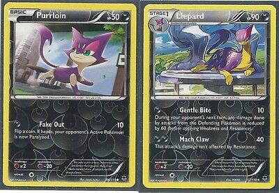NM Pokemon Cards Liepard 57//119 /& Purrloin 56//119 Phantom Forces Evolution