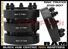 """4 Pc Ram 1500 1.5"""" Thick Black Hub Centric Wheel Spacers 5x5.5"""" Adapters  77.8mm"""