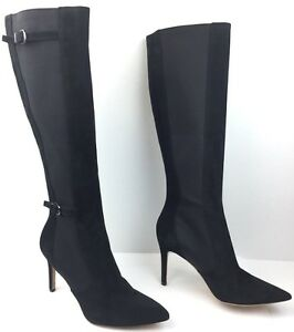 cb9f15acad7 VIA SPIGA CECIL Women s Black Suede Pointy Toe Knee High Heel Boots ...