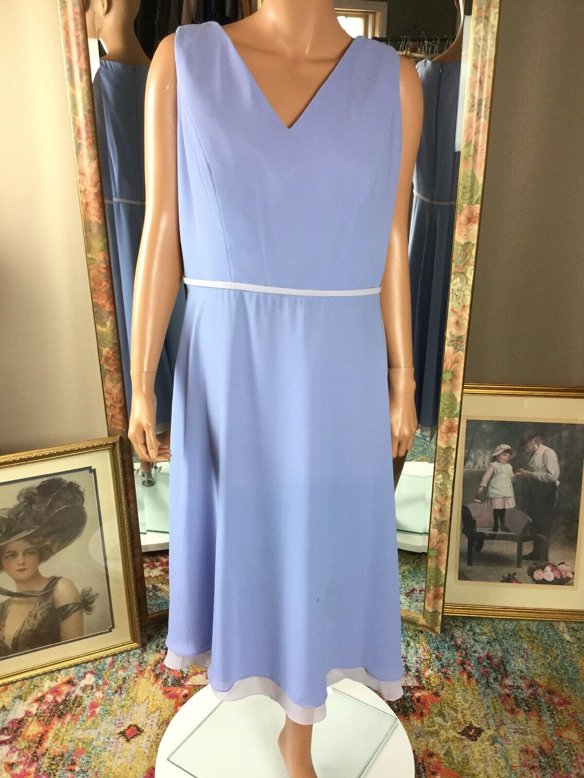 BELSOIE SZ 16 Periwinkle Blue Lilac Dress Sleeveless Triple Skirt Tea Length