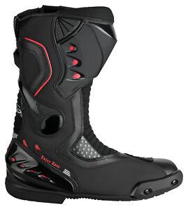 Motorradstiefel-hochwertige-XLS-Touringstiefel-Boots-Schwarz-Rot-Gr-44