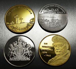 4 Commemorative WW1 Armistice & WW2 Churchill D-Day Coins. 24ct Gold, Silver