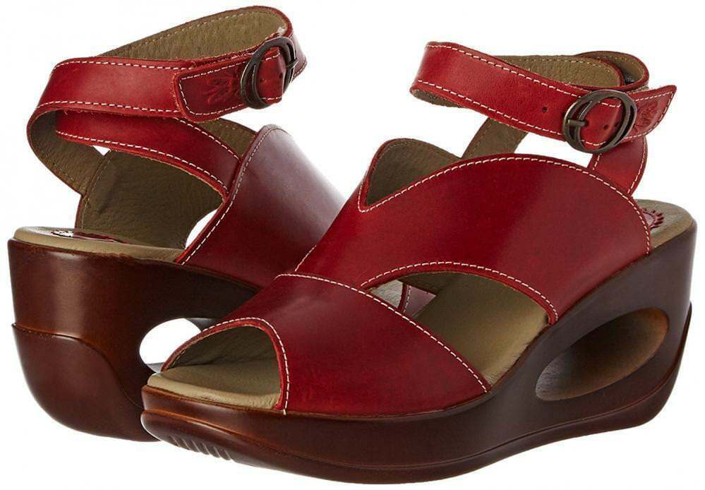 FLY LONDON HIBOFLY869 ROT LEATHER PLATFORM WEDGE SANDALS UK 7 EU 40 BNIB