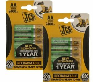 8 x JCB AA 2400mAh Rechargeable Batteries HR6 Charged And Ready To Use