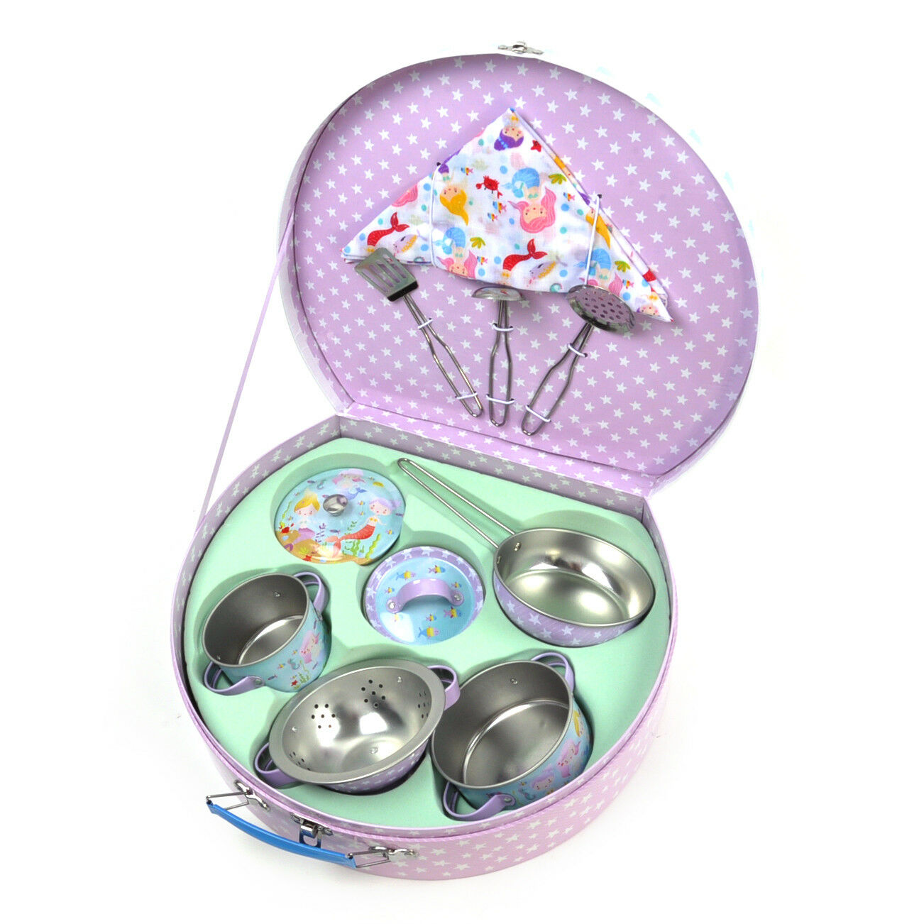 Mermaid Chef's Kitchen Set - 10pc Miniature Cooking Set in Round Case