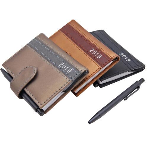 3x A7 2019 Taschenkalender mit Stift Business Lederoptik Design Timer Organizer