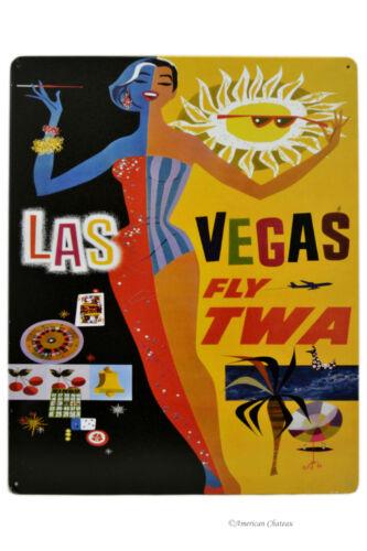 "15/"" x 12/"" Vintage Metal Las Vegas TWA Tourism Ad Textured Travel Sign Plaque"