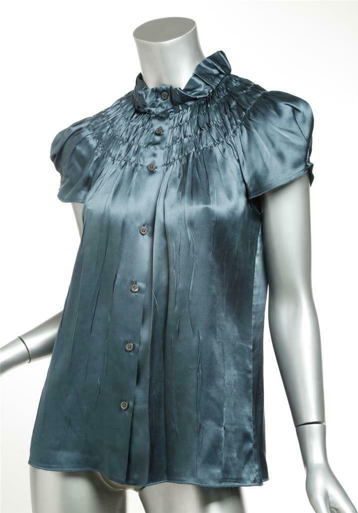 PRADA Womens Teal bluee Silk Ruched Cap Sleeve Button Front Top Blouse 6-42