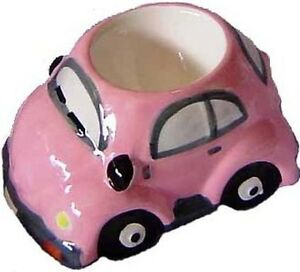 VW-Beetle-Egg-Cup-Holder-Ceramic-Collectable-Pink-Breakfast-Table-Items