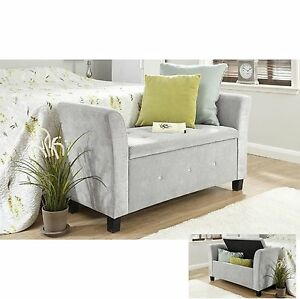 Fabric storage bench chaise longue deluxe stool bedroom for Chaise bench storage