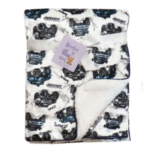 White Cars Vehicles Mink Sherpa Fleece Baby Blanket Crib Pram Moses 75 x 100 cm