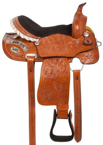 14 15 COWGIRL UP WESTERN BARREL RACING PLEASURE TRAIL HORSE SADDLE TACK SET