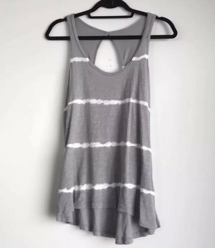 ANTHROPOLOGIE Left of Center Tie Dye Striped grau Weiß Tank Top Blouse Small