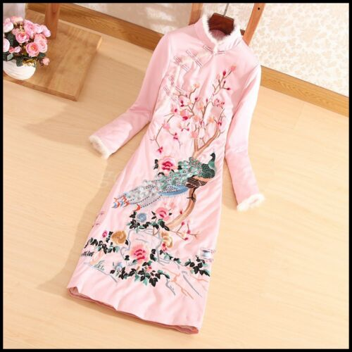 Chinese Style Womens Embroidery Qipao Padded Coat Slim Fit Long Quilted Jackets