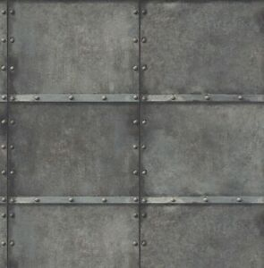 Wallpaper-Designer-Industrial-Modern-Faux-Weathered-Steel-Squares-with-Rivets