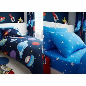 Exterieur-Espace-Stars-Garcons-Simple-Housse-de-Couette-Drap-Housse-Coussins