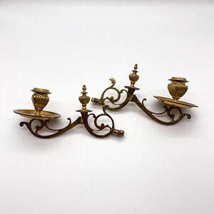 2 Antike Klavierleuchter, Klavierkerzenleuchter Messing Jugendstil um 1900 #K108