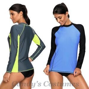 RASHIE-Long-Sleeve-RASH-Guard-SURF-Shirt-SWIMWEAR-Swim-TOP-Grey-BLUE-Black-6-14