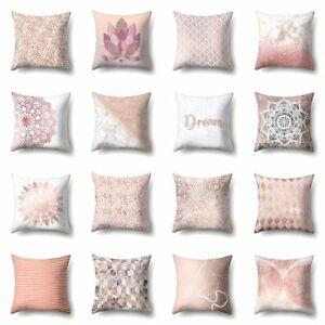 Uberwurf-Kissenbezug-Geometrisch-Gestreift-Blume-Rosa-Zuhause-Sofa-Dekor-Mode