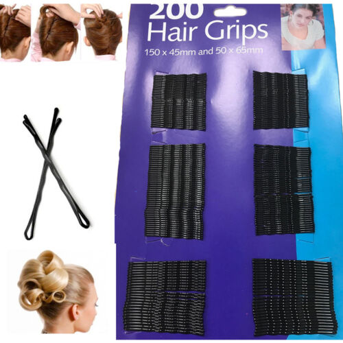 200 Hair Bobby Pins Kirby Grips Black Clips Salon Styling Slides Waved Clamp