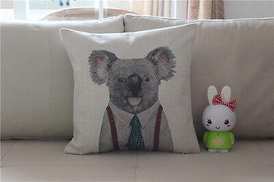 Vintage Cartoon Koala Cotton Linen Cushion Cover Throw Pillow Home Decor S5059