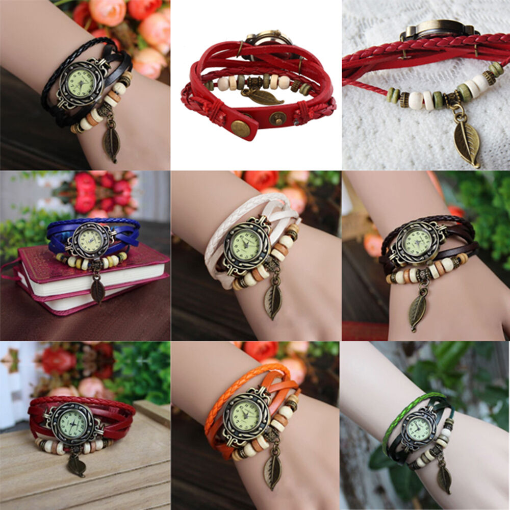Quartz Vintage Weave Wrap Around Leather Bracelet Ladies Women Wrist Watch Black