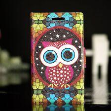 Sony Xperia Miro ST23i Case Schutz Hülle Klapp Flip Tasche Etui Große Eule Owl