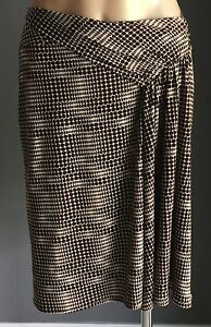 Great-Condition-SPORTSGIRL-Brown-White-Stretch-Knee-Length-Drape-Skirt-Size-M-12