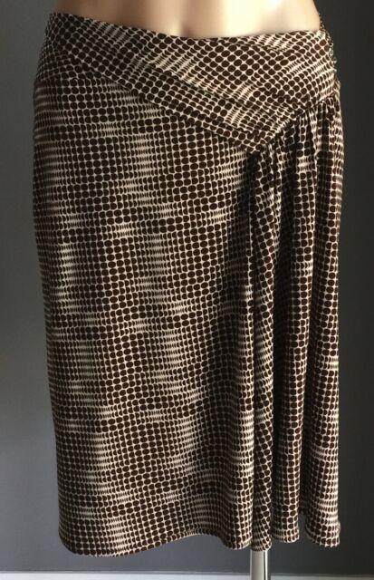 Great Condition SPORTSGIRL Brown White Stretch Knee Length Drape Skirt Size M/12