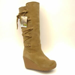 752847c6a44 New BearPaw Womens Britney Soft Brown Suede Knee-High Wedge Boots ...