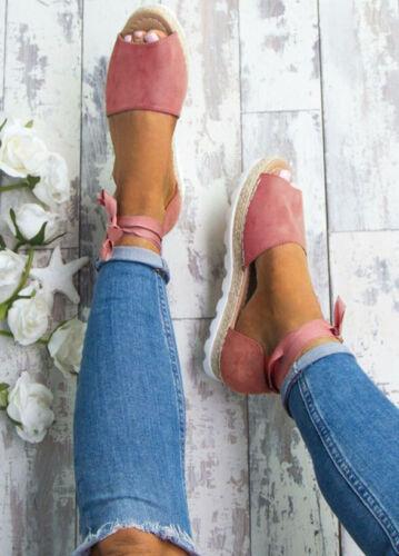 Summer Women Girls Lace Tie Up Espadrilles Sandals Peep Toe Flatform Shoes US