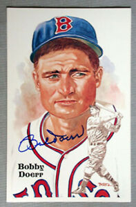 Original MLB Bobby Doerr Red Sox Signed Baseball Hall of Fame Postcard LOA