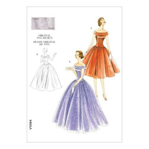 Vestido de Fiesta Vogue Sewing Pattern V1094 para mujer Vintage 1950s Vestido Ocasión