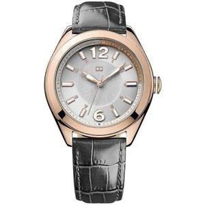 Tommy-Hilfiger-Uhr-1781365-Damenuhr-Grau-Rosegold-Leder-Lady-Watch-NEU-amp-OVP