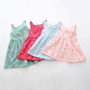 3fe7f6c882e1 Summer Baby Girl Newborn Kids Sleeveless Flower Cotton Party Dress ...