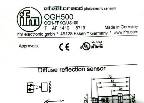 NEW EFECTOR OGH-FPKG//US100 DIFFUSE SENSOR OGH500 OGHFPKGUS100