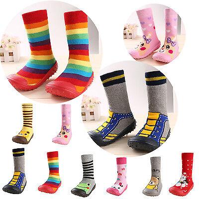 Girl Boy Socks Anti-slip Socks Slipper Shoes Prewalker with Rubber Base