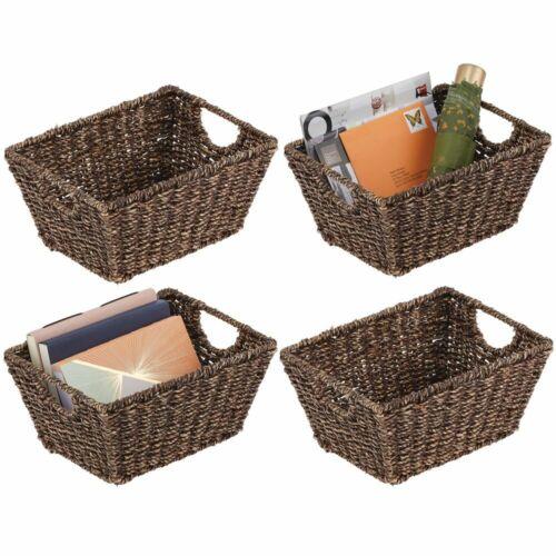 Natural//Tan mDesign Woven Seagrass Nesting Kitchen Storage Basket Bins 4 Pack