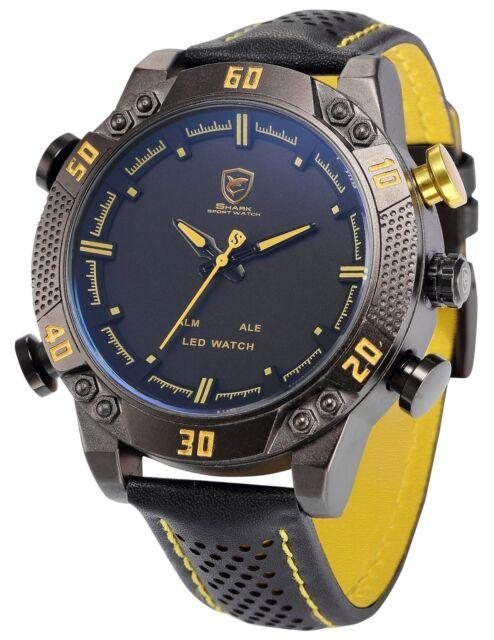 Shark Men's LED Date Day Alarm Digital Analog Quartz Sport Black Leather Band...