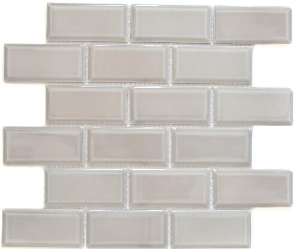Keramikmosaik steingrau Fliesenspiegel Dusche Küche Wand WC 26M-0202   10 Matten