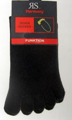 2 Paar Damen Zehensocken Hygienesocken mit einzelnen Zehen schwarz  36 bis 46