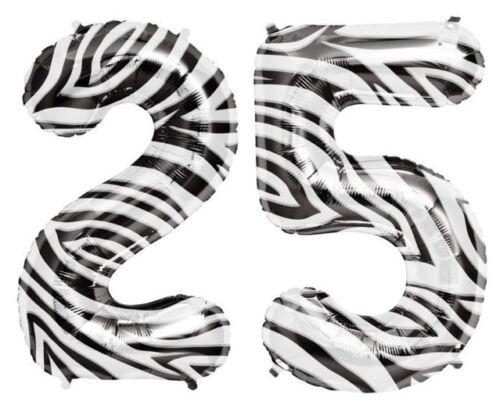 "NEW 34/"" Black White Zebra Stripes Balloons Birthday Wedding Party Graduation 0-9"