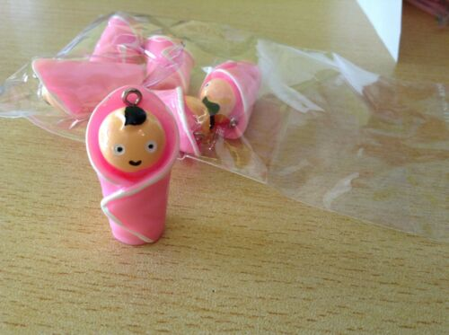 BABY doll pink resin pendants 30mm x6 kitsch kookie B204 UK SELLER