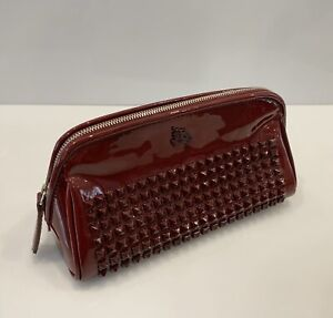 Burberry Studded Cosmetics Bag Pouch Burgundy