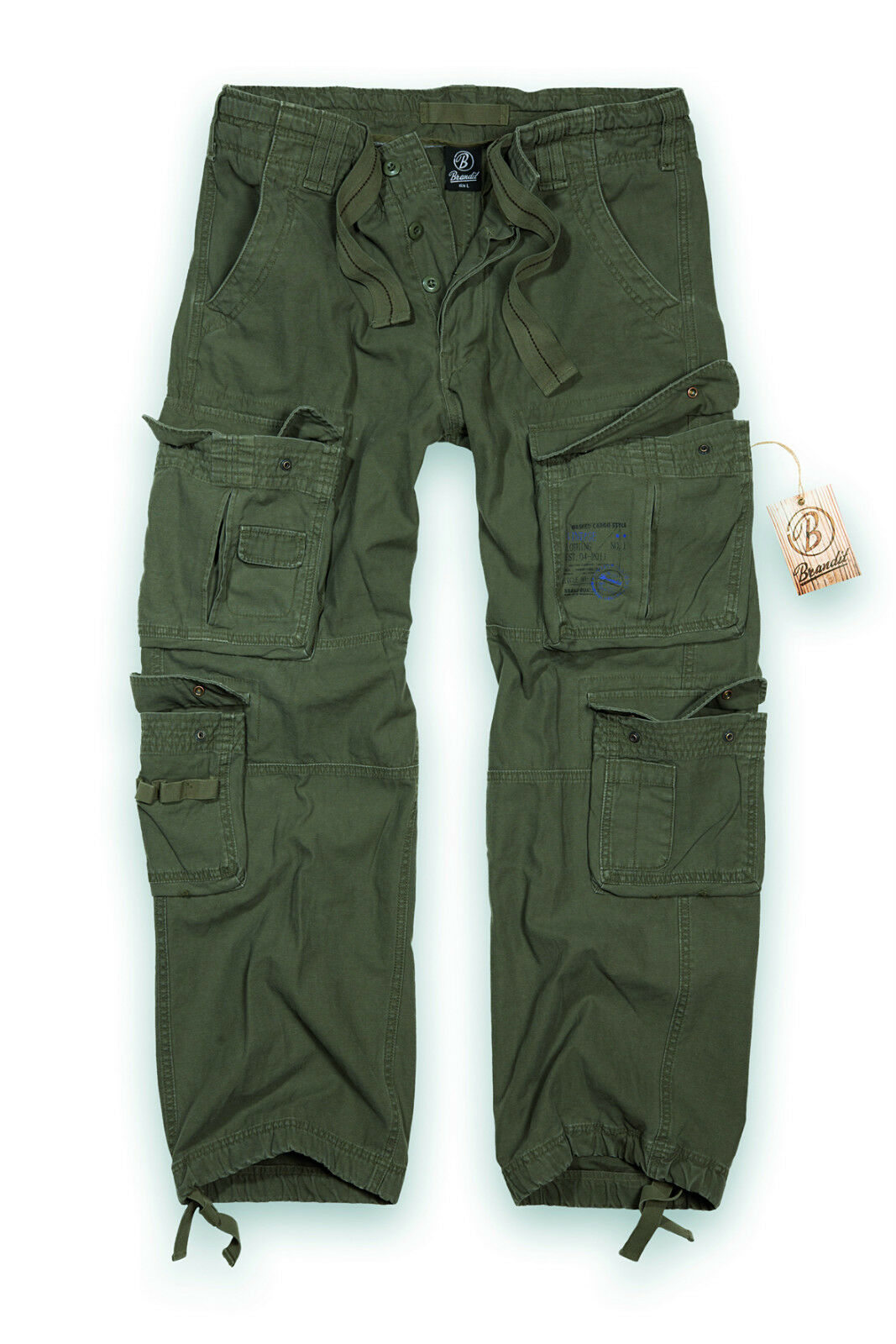 BRANDIT PURE VINTAGE COMBAT TROUSERS MENS ARMY CARGO PANTS WORKWEAR  OLIVE