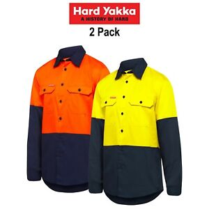 Mens-Hard-Yakka-Shirt-2-Pack-Hi-Vis-Vented-Cotton-Twill-Work-Long-Sleeve-Y07950