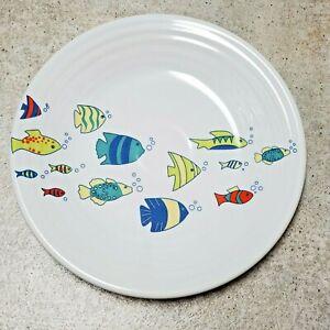 Fiestaware-School-of-Fish-Luncheon-Plate-Fiesta-Exclusive-9-034-Homer-Laughlin-USA