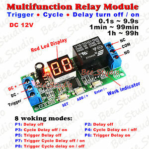 DC-12V-LED-Display-Multifunction-Relay-PLC-Cycle-Timer-Module-Delay-Time-Switch